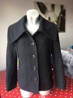 Ladies Hobbs Black Wool Cashmere Jacket Size 10