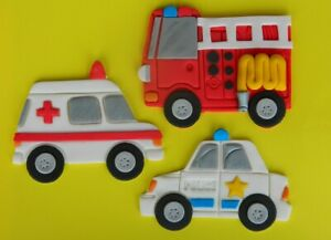 3 edible large POLICE AMBULANCE FIRE cake topper DECORATION emergency car truck