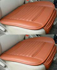2 x PU Leather Rust Orange Bamboo Charcoal Auto Car Office Chair Seat Cover Pad