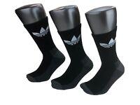 Adidas Originals Trefoil Cushioned Crew Socks 3-Pair Black White Mens Size 6 -12