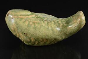 #7947: XF Korean Lý Dynasty Green glaze Fish-shaped WATER POT Calligraphy tool