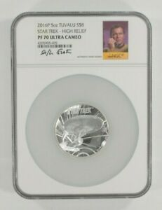 2016-P Tuvalu Star Trek 5 Oz. Silver High Relief Graded by NGC PF70 Ultra Cameo