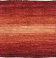 6X6 Hand-Knotted Gabbeh Carpet Tribal Red Fine Wool Square Rug D33324