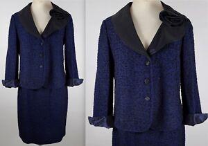 New sz 10 St John Black Label Collection navy metallic knit skirt suit $2895