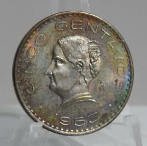 Mexico 1953 5 Centavos BU Coin with Beautiful Rainbow Toning C1901