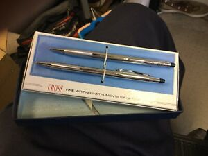 Vintage Cross Chrome 3501 Pen And Pencil Set No Reserve