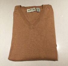 Orvis Sweater Men's V Neck Camel XL Beige
