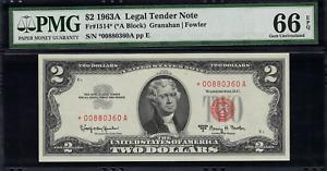 1963A $2 Legal Tender FR-1514* - STAR NOTE - Graded PMG 66 EPQ Gem Uncirculated