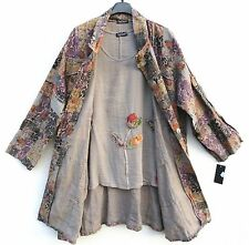 NEU SARAH SANTOS Leinen Mantel Linen Coat Manteau L 44 46 Lagenlook °°°