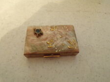 VINTAGE LADIES COMPACT GOLDTONE MOTHER OF PEARL TOP TURTLE ACCENT
