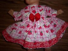 """Doll Clothes 14 15"""" inch Bitty Baby Hello Kitty Strawberry dress diaper"""