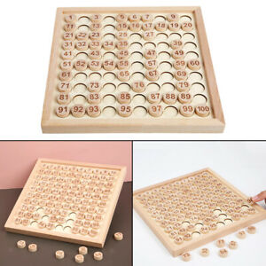 Wooden Math Learning Toy Numbers Hundred Board Educational Game for Kids