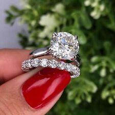 2Ct Round-Cut Moissanite Bridal Set Engagement Ring Solid 14K White Gold Finish