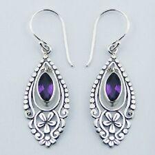 Silver & amethyst gemstone earrings hook 47mm drop  925 sterling dangle new look