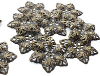 10 x Filigree Flower Stamped Embellishment Decoration Charms, Bronze tone Metal