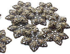 10 x Filigree Flower Stamped Embellishment Decoration Charms. Bronze tone Metal