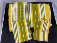 Vintage Tastemaker Mohawk Full size Avocado Green Yellow Striped Complete Set
