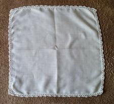 Vintage Ladies White Handkerchief with a Quarter Inch White Crochet Trim