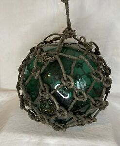 """Vintage Large Authentic Japanese Roped Net Glass Fishing Float Bouy Ball 30"""" Cir"""