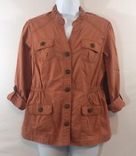 Dress barn Size S Rusty Orange Shirt Jacket 3/4 Sleeve Roll Up Stretch Button