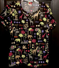 Dickies Scrubs Womens L Black Elephant Giraffe Safari Animal Print New Free Ship