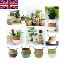 UK Seagrass Belly Basket Flower Plants Pots Laundry Storage Home Garden Decors