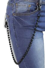 New Men Black Metal Long Wallet Chain Balls Biker Jeans Multi Kye Clasps Rocker