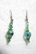 NEW ONE INCH LONG  PIERCED EARRINGS WITH 8 LIGHT GREEN SWAROVSKI CRYSTALS