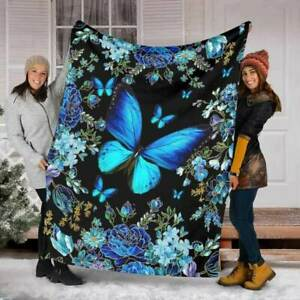Magic Blue Butterfly Fleece Blanket House Decor New House Gift