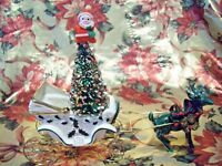 *RARE VTG* Napco Christmas Holly Coach Sleigh props Reindeer & Bottle Brush Tree