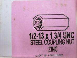 "LOT OF 10 - HEXAGON STEEL COUPLING NUT ZINC PLATED 1/2""-13 THREAD X 1-3/4"" UNC"