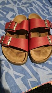 birkenstock red leather sandals  8M