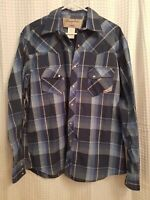 Wrangler Western Shirt Pearl Snap Mens Size Large Blue Plaid Long Sleeve