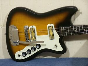 VINTAGE 1968 60s SILVERTONE ELECTRIC GUITAR SEARS HARMONY H-17 BOBKAT SILHOUETTE