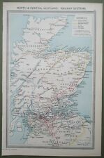 North & Central Scotland Railway Systems Antique Map Caledonian Highland c1907