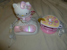 HELLO KITTY TEA CUP CLOCK ALARM RADIO & ANGEL CALLER ID TELEPHONE LOT SANRIO SET