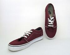 VGC Vans Off the Wall Burgundy Red Canvas Boat Deck Lace Up Shoes Men's 9