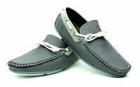 Mens Slip On Boat Shoes Grey Leather Driving Casual Loafers Moccasin Smart Size