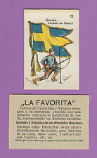 LA FAVORITA (CANARY ISLANDS) - SCARCE SILK FLAGS & SOLDIERS CARD - SWEDEN