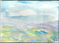 SOFT TONE MOUNTAINS. Original Watercolor Landscape Painting ACEO small ART mini