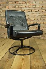 70er Vintage Sessel Leder Drehsessel Retro Easy Chair Danish Westnofa Rykken Ära