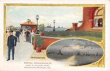 Virginia postcard Hampton Fortress Monroe Hotel Chamberlin battleship fleet