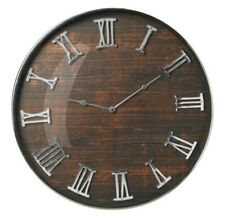 Large Brown Wall Clock Wood Effect Glass