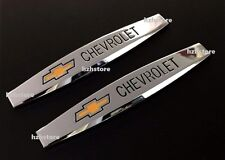 2PCS CHEVROLET Chrome Auto Car Body Fender Metal Emblem Badge Sticker Decal