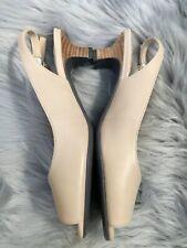 J. Renee Women's Aldene Slingback Nude Kidskin Leather Block Heel Shoes Sz 6.5M