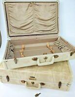 """VTG Samsonite Shwayder, Marble Beige 21"""" Luggage Hard Suitcase x 2 WITH KEY"""
