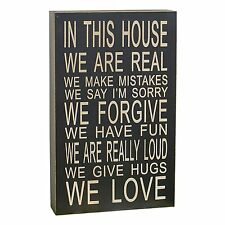 """In This House We Love Wood Chunky Sign, Black Wall Decor 13""""H New"""