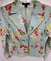 Women's August Silk Blue Floral Blazer Jacket Size 10