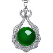 Noble Jewel Round Shaped Green Agate 925 Sterling Silver Pendant Necklace