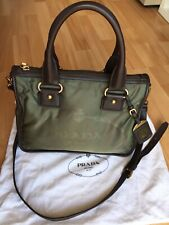 authentic PRADA Logo khaki Bag With Leather Shoulder Strap